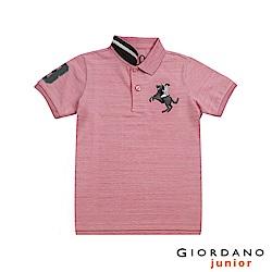 GIORDANO 童裝彩色拿破崙刺繡彈力萊卡短袖POLO衫-46 仿段彩薔薇粉紅
