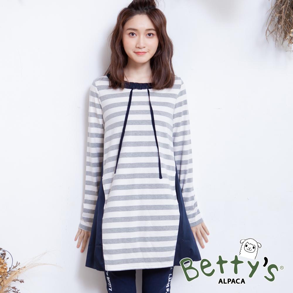betty's貝蒂思 優雅荷葉領條紋拼接上衣(淺灰) @ Y!購物