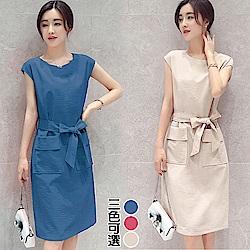 【韓國K.W.】話題單品棉麻洋裝-3色