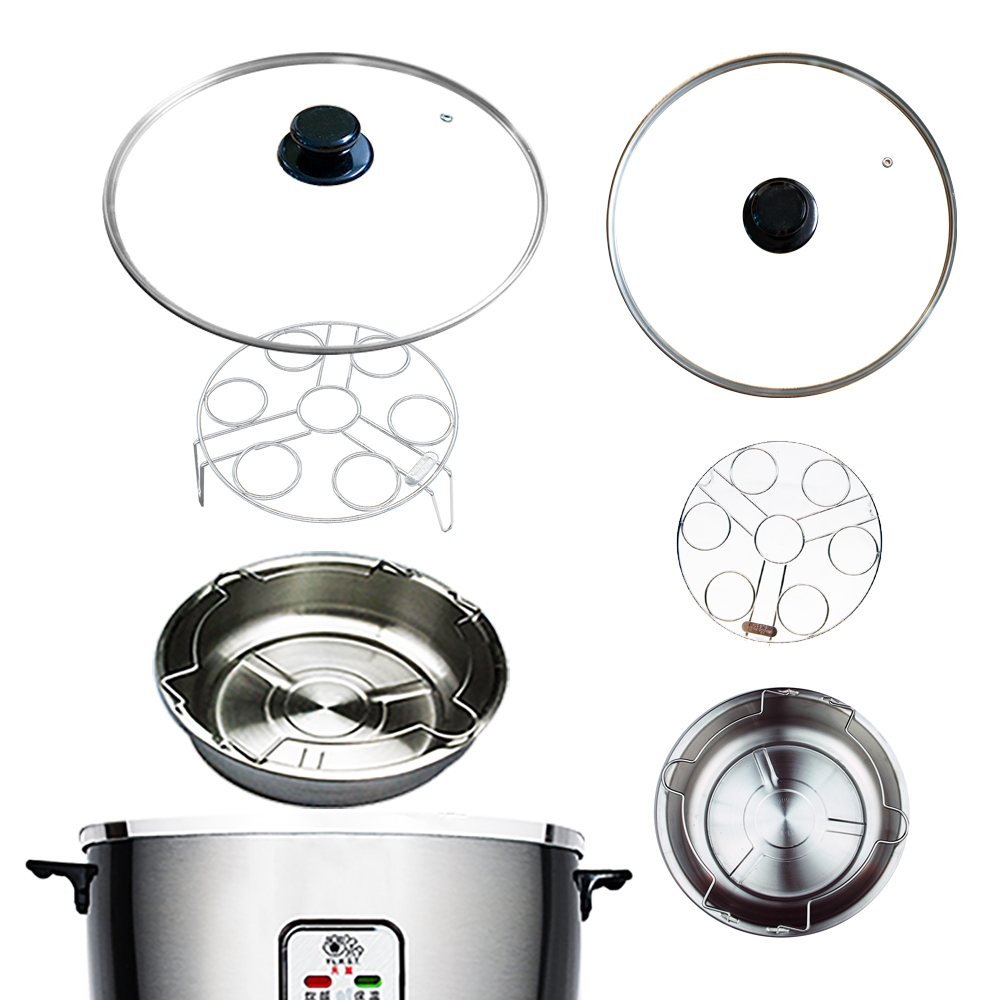 天蠶304不鏽鋼蒸蛋架套組(15人份電鍋適用含304不鏽鋼玻璃鍋蓋 蒸盤蒸架)