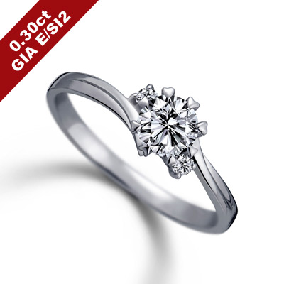 彩糖 GIA 30分鑽石 E/SI2 3EX 愛心八爪鑽戒