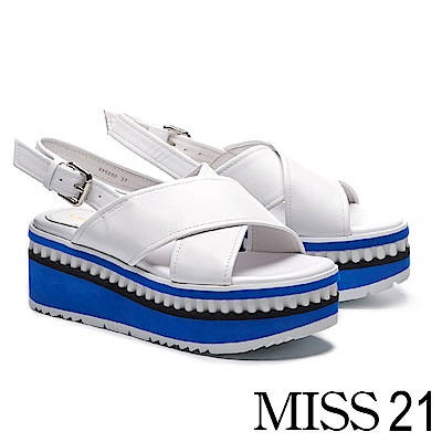 涼鞋 MISS 21 俏皮撞色鋸齒邊設計交叉帶牛皮厚底涼鞋-白