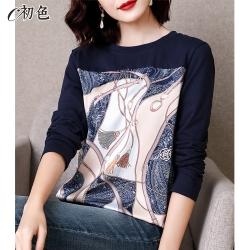 初色  復古印花拼接長袖T恤-藏青色-(M-2XL可選)