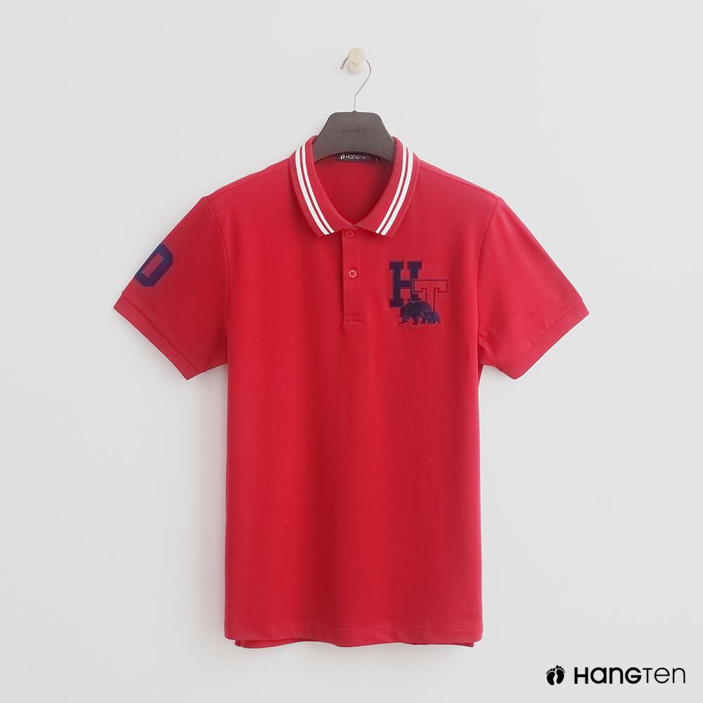 Hang Ten - 男裝 - logo滾邊領POLO衫 - 紅