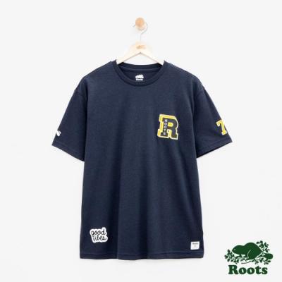 男裝Roots 徽章短袖T恤-藍
