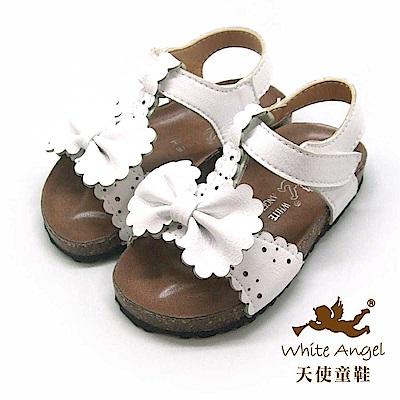 天使童鞋 可愛蝴蝶防水涼鞋(小童)E938-白
