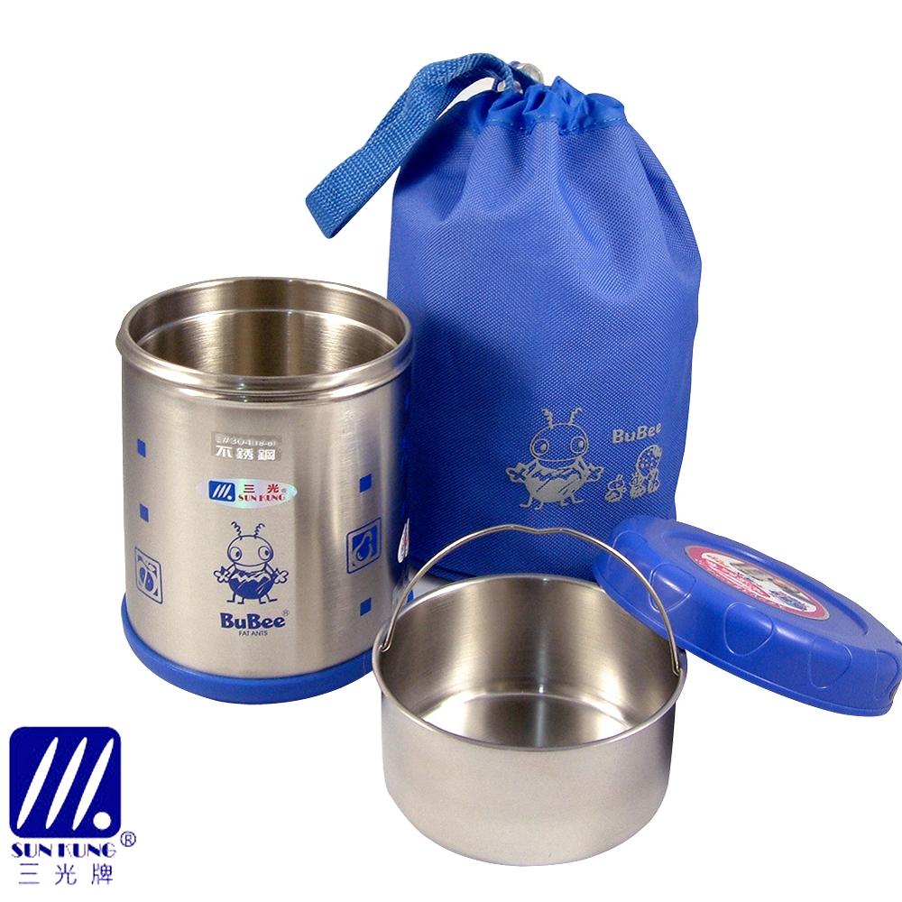 【三光牌】台灣製 溫心#304不銹鋼真空保溫飯盒/食物罐-0.7L(M-700B)藍
