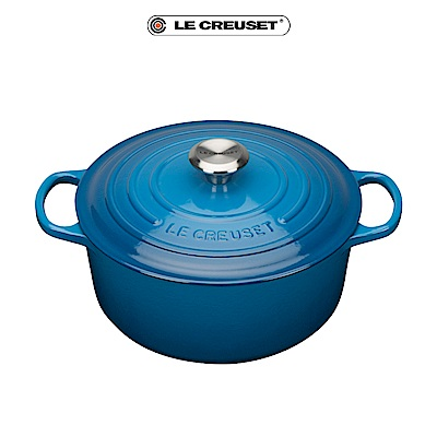 LE CREUSET琺瑯鑄鐵典藏圓鍋24cm-馬賽藍-鋼頭
