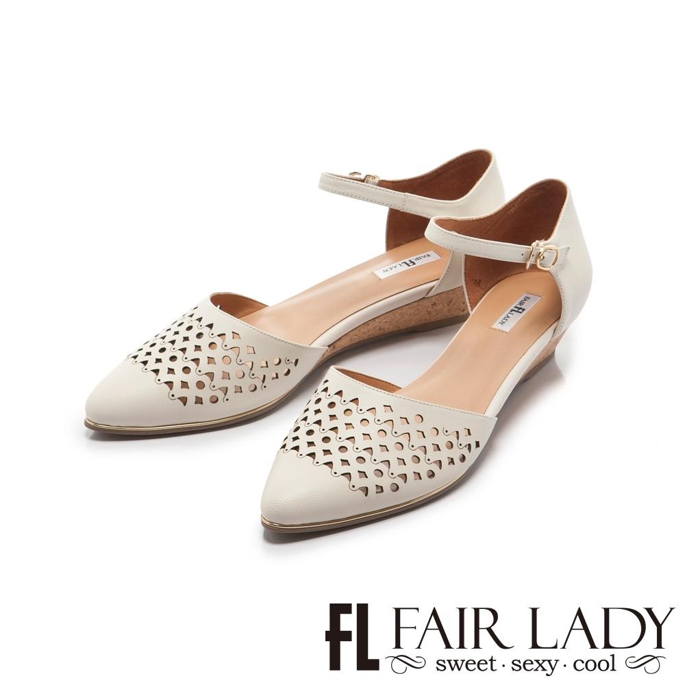 FAIR LADY幾何沖孔繫踝楔型低跟涼鞋 白