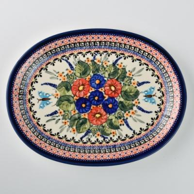 波蘭陶 夢蝶游春系列 橢圓形餐盤 29cm 波蘭手工製