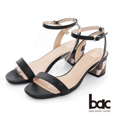 【bac】紐約不夜城 - 時髦細版一字帶特殊拼色粗跟涼鞋-黑色
