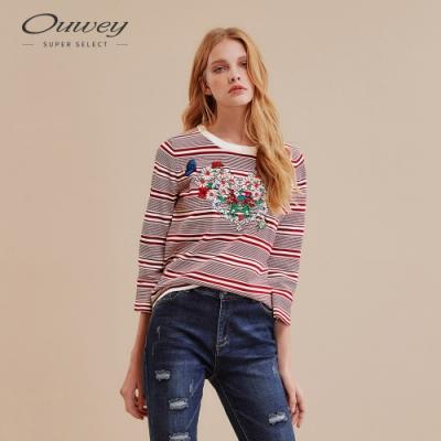 OUWEY歐薇 花簇刺繡條紋針織上衣(紅)