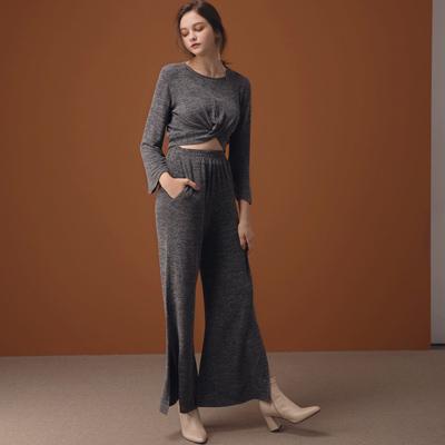AIR SPACE LADY 休閒親膚扭結寬袖針織套裝(黑)