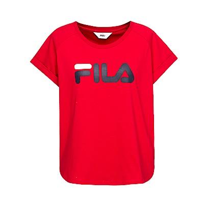 FILA 女款短袖圓領T恤-紅色 5TET-1505-RD