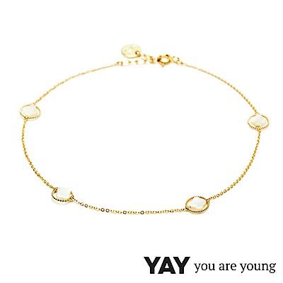 YAY You Are Young White Swan 珍珠母貝幸運草腳鍊 金色X白色