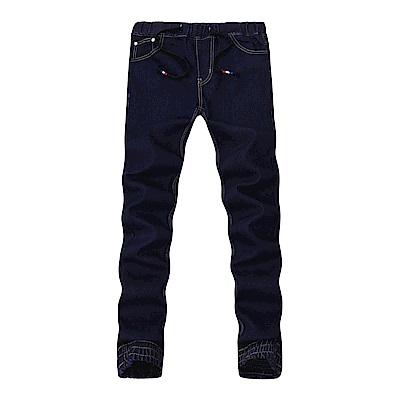 BuyGlasses 彈性窄身皮標牛仔長褲