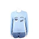 Chiara Ferragni Flirting 眨眼圖騰天藍色棉質針織衫