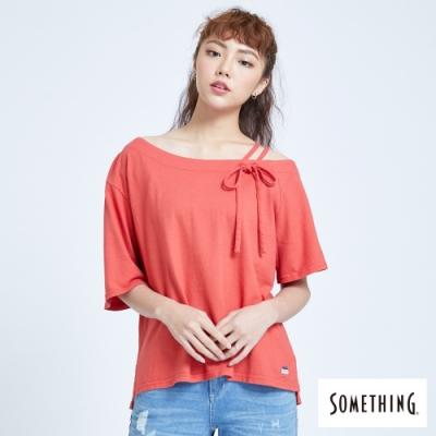 SOMETHING 不對稱斜肩 短袖T恤-女-桔紅色