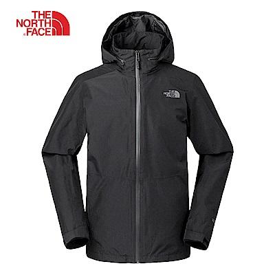 The North Face北面男款黑色防水透氣防風外套|2VECJK3