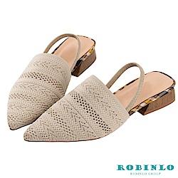 Robinlo 圖騰編織尖頭穆勒涼拖鞋 米白