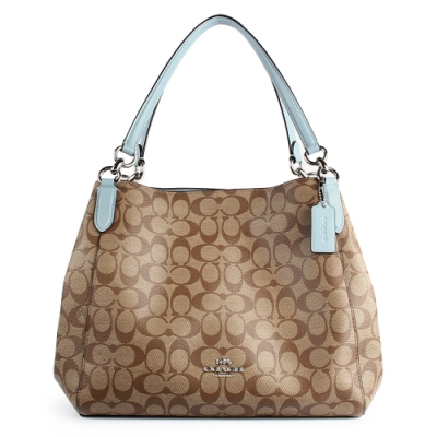 COACH 滿版C LOGO PVC皮革肩背三層賈姬包-粉藍色