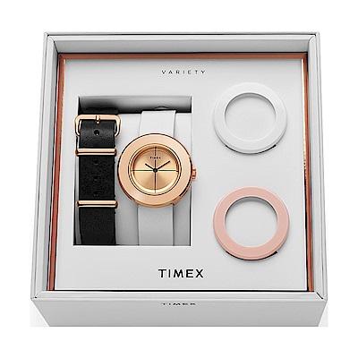 TIMEX 天美時 復刻系列 限量手錶禮盒組-玫瑰金x粉x白/34mm