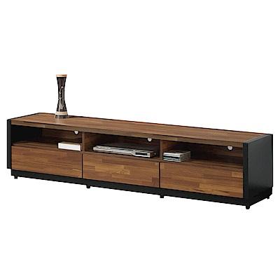 文創集 羅安時尚6尺木紋雙色電視櫃/視聽櫃-180x40x45cm免組