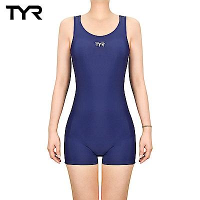 美國TYR 修身款連身四角泳裝 Solid RacerBack Boyleg 藍色