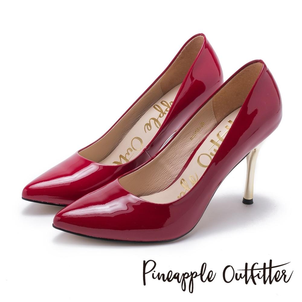 Pineapple Outfitter 性感名媛 真皮素面尖頭金屬高跟鞋-鏡紅