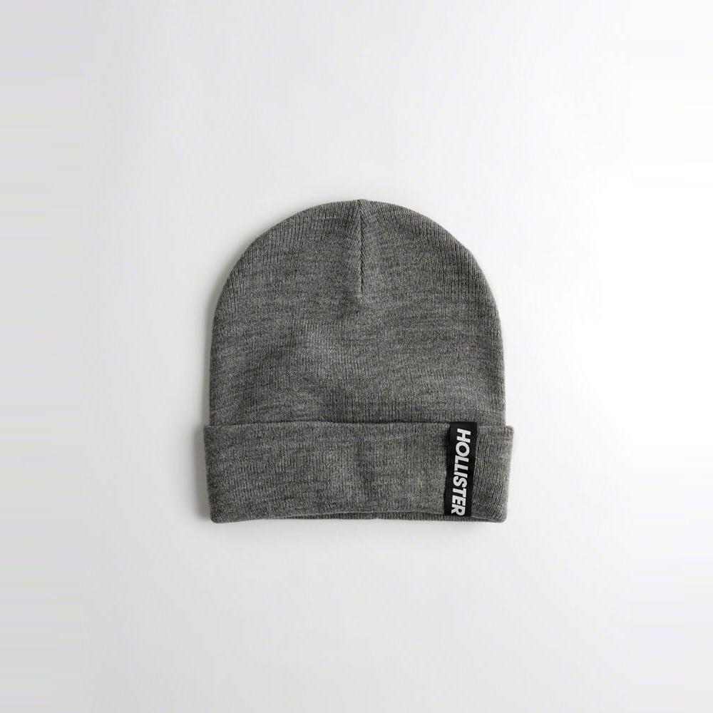 海鷗 Hollister 文字設計舒適保暖毛帽-深灰色