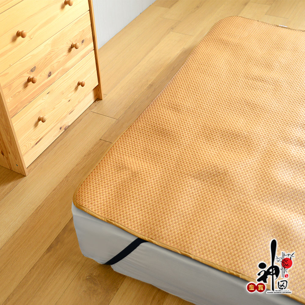 神田職人 雙人7尺-3D加厚 格紋 透氣天然 紙纖涼蓆-E 不夾髮膚