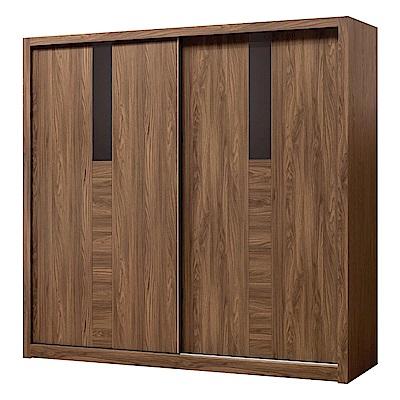 文創集 艾比柏7尺推門衣櫃(吊衣桿+單抽屜+六宮格抽屜)-211x60x204cm免組