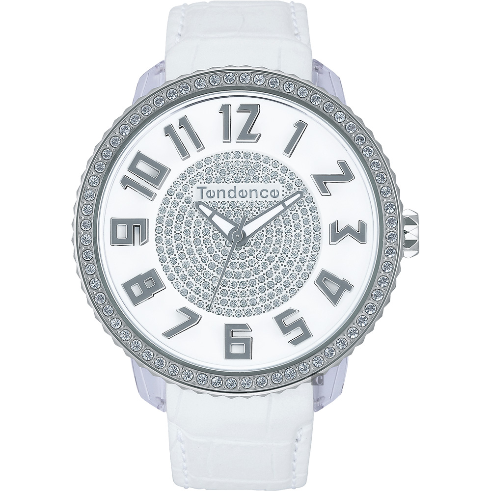Tendence 天勢 Glam 47 施華洛世奇水鑽立體刻度手錶-白/47mm