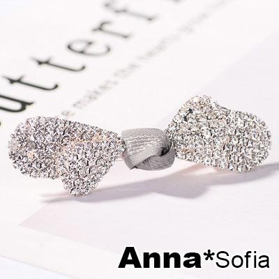 AnnaSofia 滿鑽圓弧葉蕊結 純手工小髮夾邊夾(灰結-淡金系)