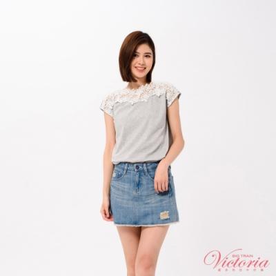 Victoria 肩飾蕾絲落肩短袖T-女-淺灰