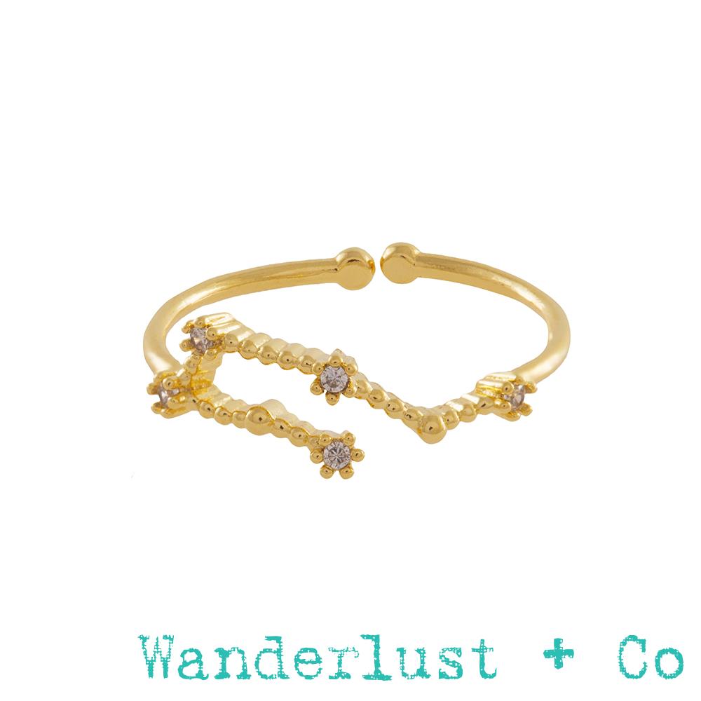 Wanderlust+Co 12星座系列- 水瓶座金色水鑽戒指