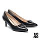 高跟鞋 AS 反折金屬鑽釦羊皮尖頭高跟鞋-黑 product thumbnail 1