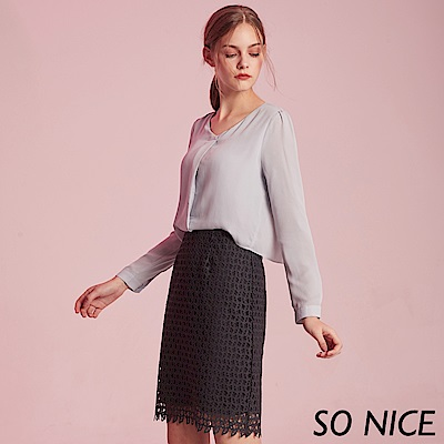SO NICE氣質雪紡拼接洋裝