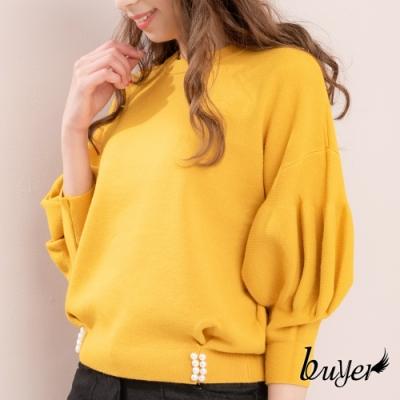 【白鵝buyer】韓版加厚款優雅泡泡袖珍珠下擺毛衣(活力黃)