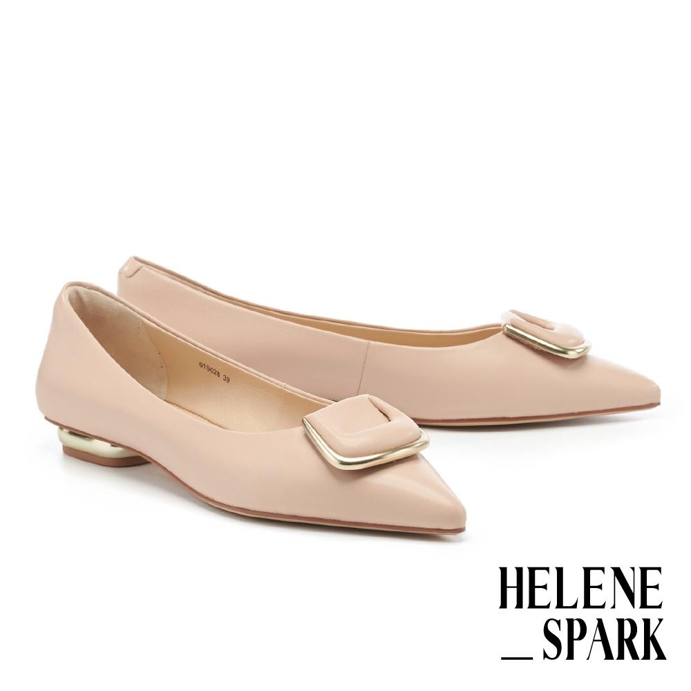 平底鞋 HELENE SPARK 時尚氣質金屬梯釦全真皮尖頭平底鞋-粉