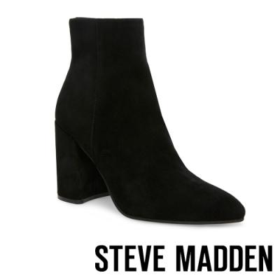 STEVE-MADDEN-THERESE-質感美型尖頭粗跟拉鍊短靴-絨黑色