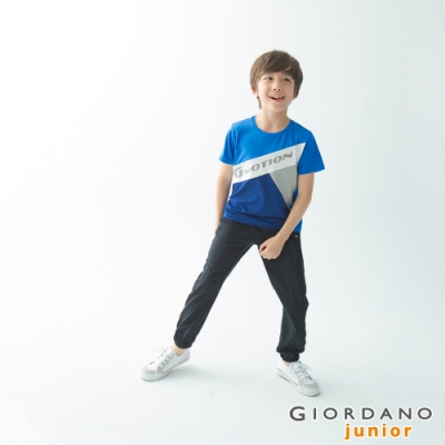 GIORDANO 童裝3M抗污透氣彈性運動休閒束口褲-19 標誌黑