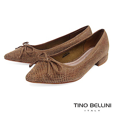 Tino Bellini 幾何格紋小蝴蝶結微跟包鞋 _ 棕