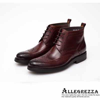 ALLEGREZZA-真皮男鞋-帥氣焦點-真皮藝紋雕花繫帶短靴   咖啡紅色