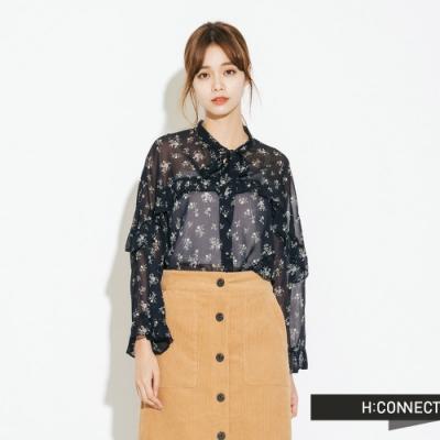 H:CONNECT 韓國品牌 女裝-雪紡花樣綁結上衣-藍