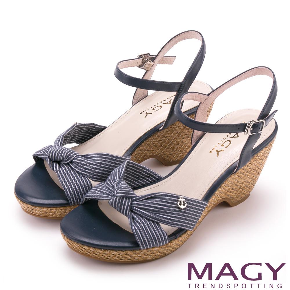 MAGY 條紋布面扭結拼接牛皮編織楔型 女 涼鞋 藍色