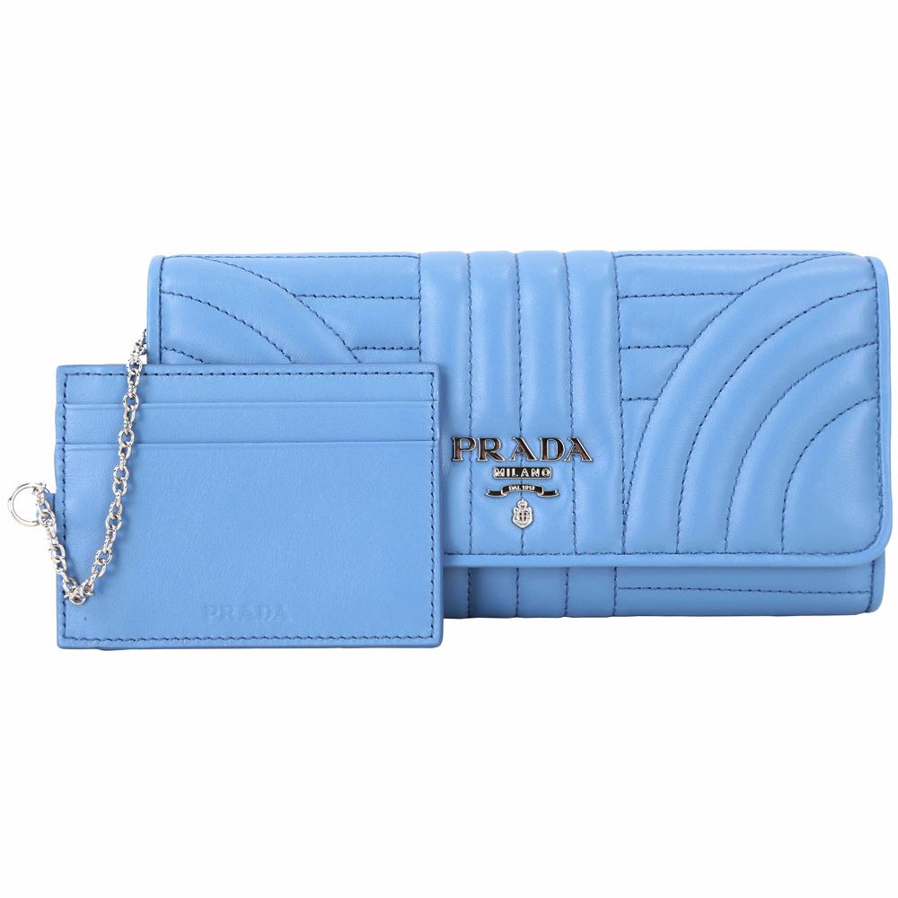 PRADA Diagramme 絎縫小牛皮附證件套釦式長夾(海藍色)PRADA