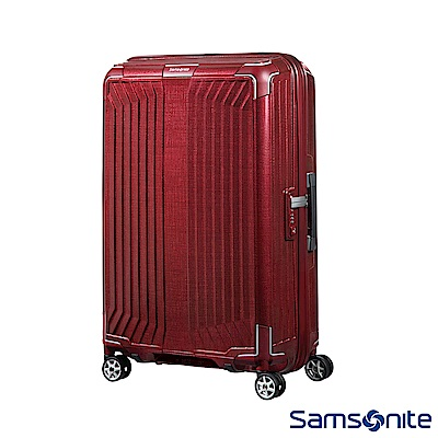 Samsonite新秀麗 25吋Lite-Box耐衝擊Curv垂直線條登機箱 深紅