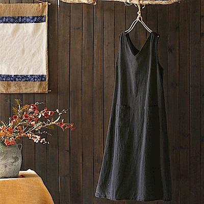 文藝素色棉麻背心裙中長版無袖內搭A字裙-設計所在