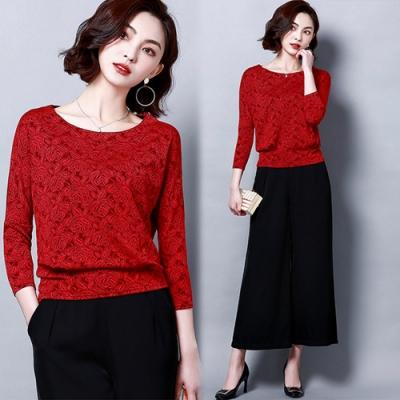 【韓國K.W.】(預購)玫瑰少女蕾絲顯瘦上衣-4色